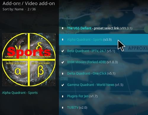 How To Install Alpha Quadrant Kodi Sports Addon V39 Step 18
