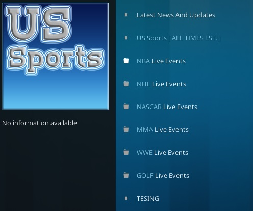How To Install US Sports Kodi Addon Overview