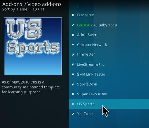 How To Install US Sports Kodi Addon Step 17