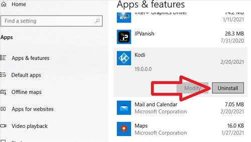Uninstall Kodi 19 From Windows 10