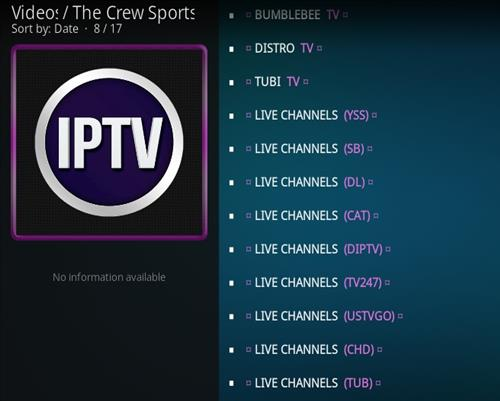 How To Install The Crew Sports Kodi Addon Overview 2