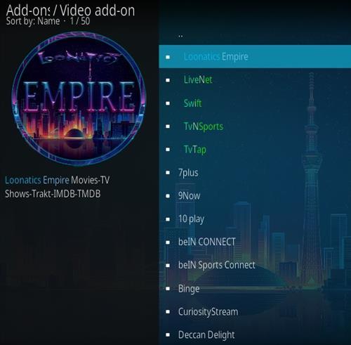 How To Install LooNatics Empire Kodi Addon Step 17