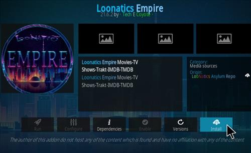 How To Install LooNatics Empire Kodi Addon Step 18