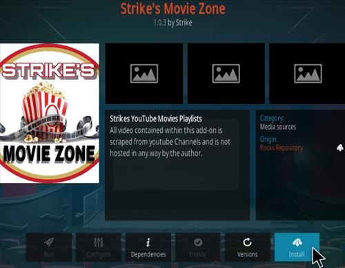 Cómo instalar el complemento Kodi de Strike Movie Zone, paso 18