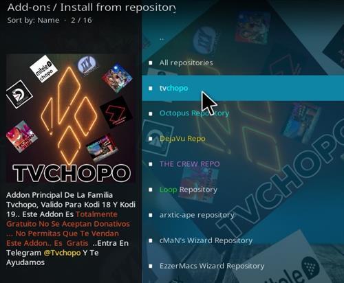 Cómo instalar el complemento Chopo Kodi TV Paso 17