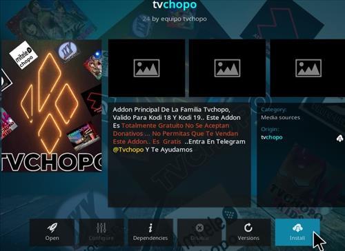 Cómo instalar el complemento Chopo Kodi TV Paso 19