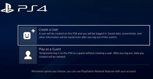 Add New User PS4 2