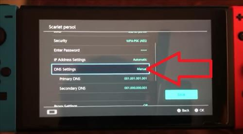 Steps to Change Primary and Secondary DNS Settings on a Nintendo Switch Step 2