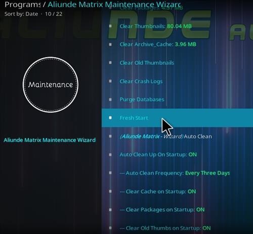 How To Install Aliunde Kodi 19 Matrix Maintenance Wizard Overrview 3