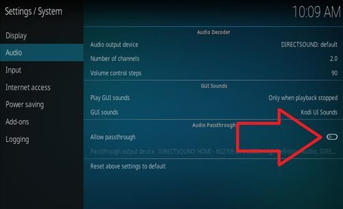 Toggle On Off Audio Pass-through