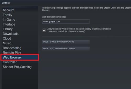 Clear Steam Cookies in Browser Step 3