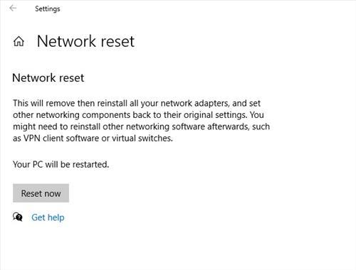 Do a Network Reset Step 2